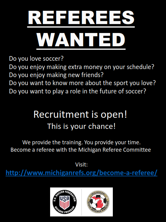WE ARE HELPING TO RECRUIT NEW REFEREES! CLICK THE PICTURE FOR INFORMATION!