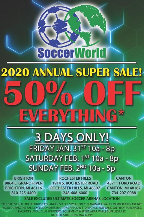 Soccer World Annual 50% Off Sale!